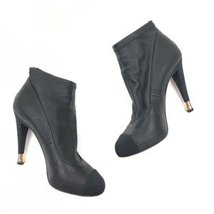 """Chanel Black Leather """"Gold Tip Heel"""" Ankle Bootie"""